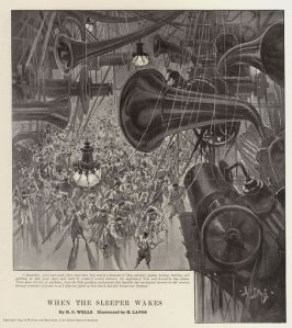 An illustration of the 'Plopl Mashinen' with their 'hoikh-reyders'. From H.G. Wells' When the Sleeper Wakes