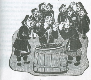 Illustration by Lillian Fischel. From The Wise Men of Chelm, by Solomon Simon.
