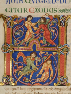 Moses beating an Egyptian. Winchester Bible, twelfth century. http://www.winchester-cathedral.org.uk/gallery/the-winchester-bible/