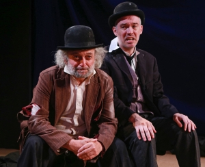 New Yiddish Rep's Godot: David Mandelbaum as Estragon and Shane Baker as Vladimir. photo by Ronald L. Glassman.